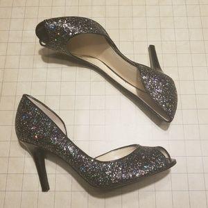 Kelly & Katie Vegan Peep Toe Glitter Heels size 8